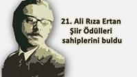 21. Ali Rıza Ertan Şiir Ödülü Sonuçlandı